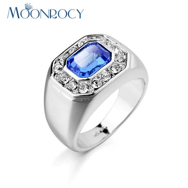 5332eb5a3381 MOONROCY la gota Rose oro Color Zirconia austríaco azul anillos cristalinos  del anillo de bodas de