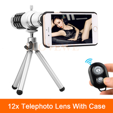 Big sale 2017 12x Zoom Telescope Telephoto Lens For Samsung Galaxy S3 S4 S5 S6 S7 edge Plus Case Phone Camera Lentes Bluetooth control