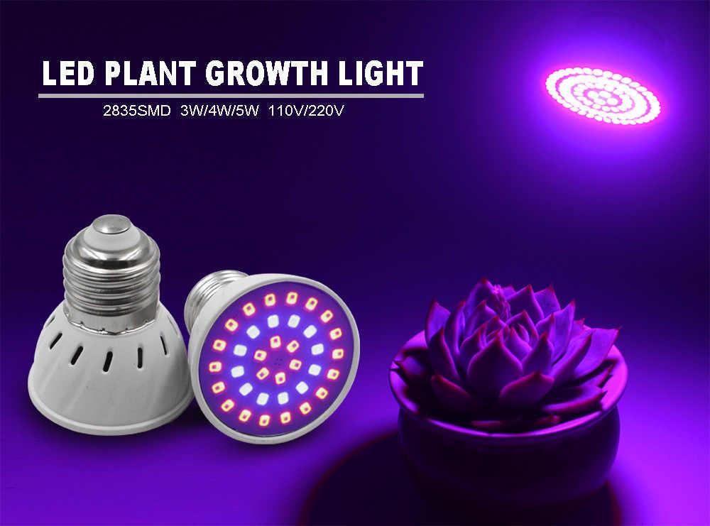 Светодиодный Grow светильник лампы 5 Вт 7 Вт 9 Вт полный спектр 220V E27 E14 Светодиодный лампа для выращивания растений с питанием от источника для комнатных растений гидропоники Системы Цветок Цветение растение лампы противотуманных фар