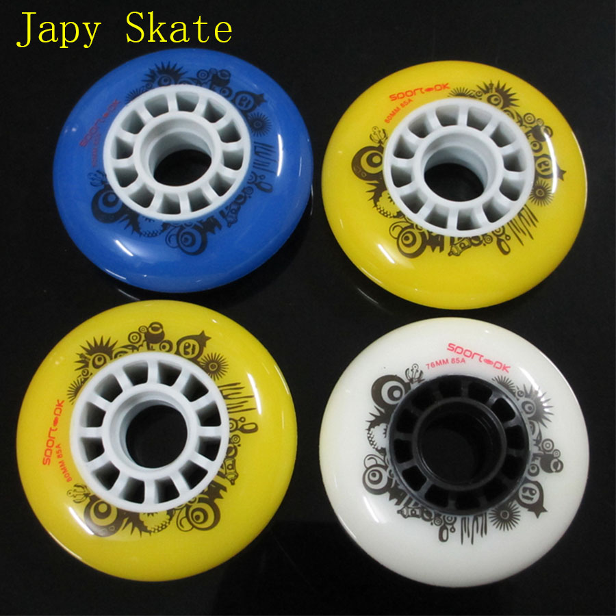 8pcs Sport-PK Inline Skate Wheels 85A Slalom Roller Skating Wheels 80mm Sliding Free Skating Tires For SEBA Patines Adulto