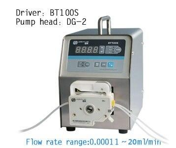 BT100S DG10-2(10rollers,2 channels) Lab Low Flow Stainless Steel Dosing Peristaltic Pump Liquid Fluid Pumps 0.00011 to 20 ml/min peristaltic pump v6 dispensing 2 channel 2 yz2515x 0 007 1740 ml min per channel ce certification one year warranty