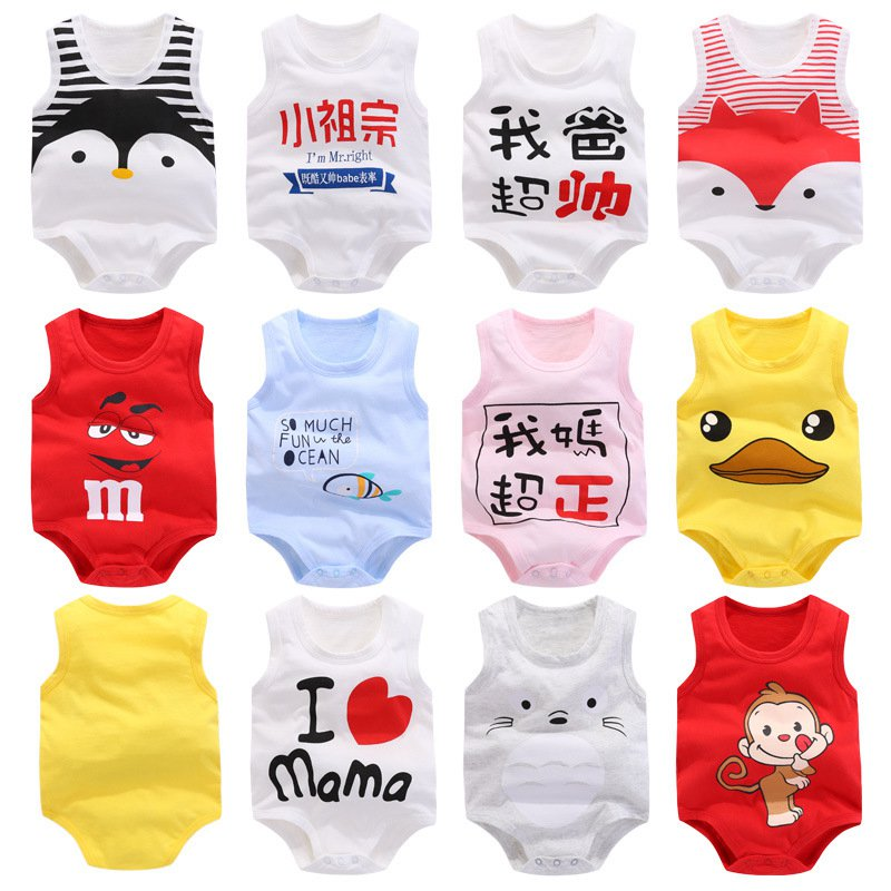 Summer 100% Pure Cotton Baby Boy Infant Sleeveless Cartoon Print Bodysuit 2019 New Clothes Newborn Baby Girl Climbing Pajama