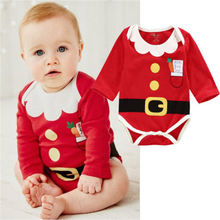 Newborn Baby Boys Girls Winter Warm Christmas Festival Red Belt Clothes Party Outfit Costume