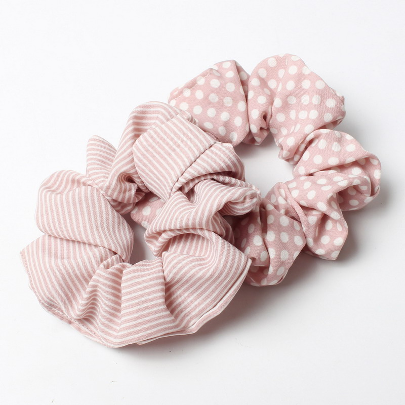2Pcs/Lot Stripe  Scrunchies for Dot Hair Band Women Headband Soft Stretch Ties Rope Ponytail decoration the hair