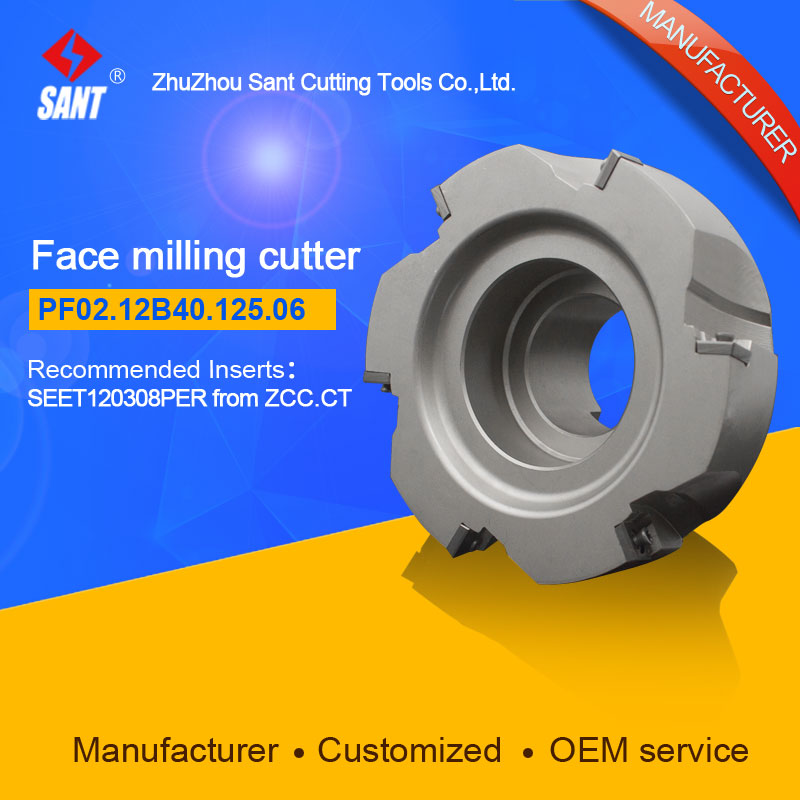 Refer to FMP02-125-B40-SE12-06 ,Zhuzhou Sant Face Milling Cutter PF02.12B40.125.06 for carbide Inserts SEET09T308PER
