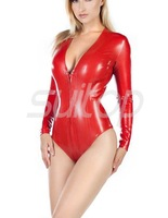 women's rubber leotard latex bodysuits in red color with front zip through crotch zip