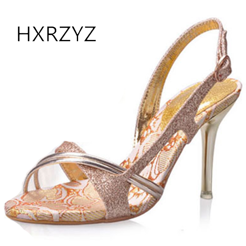 HXRZYZ women wedding sandals gold sexy high heeled shoes summer new fashion female thin heel open toe women banquet dress shoes new arrivals women sandals fashion high quality high heel ankle open toe sexy double buckle thin heel wedding shoes big size 10