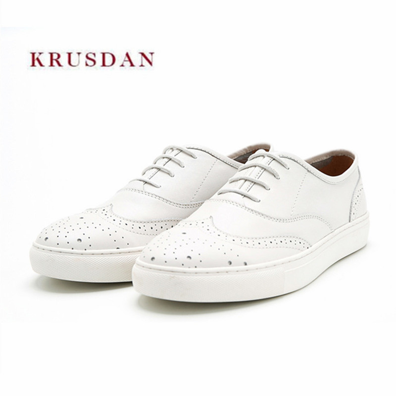 KRUSDAN New Brand Casual Men Shoes White Genuine Leather Flats Spring Autumn Lace Up Vulcanize Party Shoes Men's Tenis Sneakers asumer white spring autumn women shoes round toe ladies genuine leather flats shoes casual sneakers single shoes