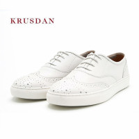 KRUSDAN New Brand Casual Men Shoes White Genuine Leather Flats Spring Autumn Lace Up Vulcanize Party Shoes Men's Tenis Sneakers