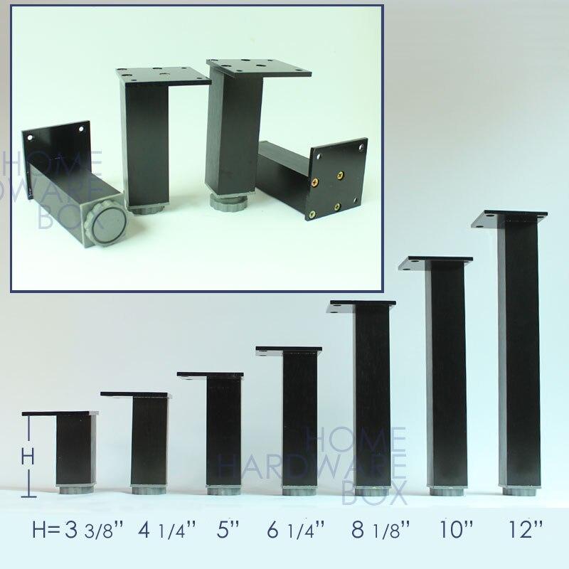 30cm 4x Black Metal Legs Adjustable Height Square Aluminum