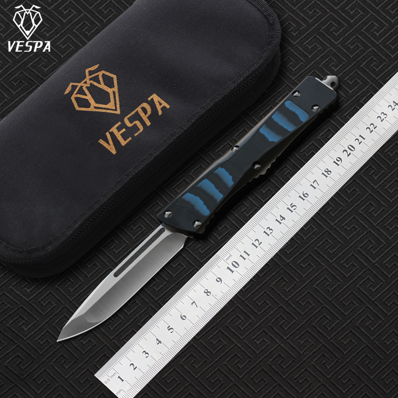 VESPA Knife Blade D2 Handle Aluminum TC4 G10 camping survival outdoor EDC hunt Tactical tool dinner