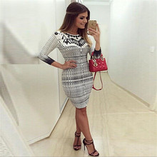 New Fashion Women clothes Bandage Bodycon three quarters sleeve round neck polyester Evening Sexy Party Mini Dresses one pieces