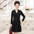plus size 4XL high slim waist sashes spring women chiffon dress 2017 Casual solid black long sleeve A-line dress vestidos female