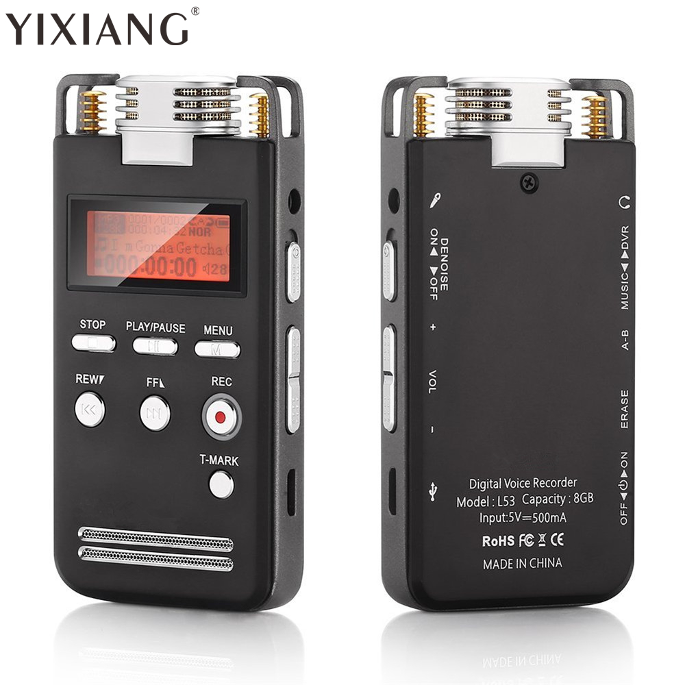 YIXIANG Digital Voice Recorder 1536K High Quality PCM Recording Device with Voice Activated and Noise Reduction Function high bit rate 1536kbps audio recorder 60m voice recorder 8g time stamp voice activated password digital recorder ape flac player