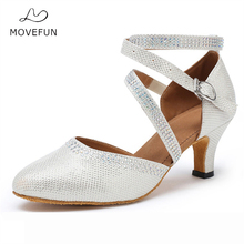 movefun Rhinestone Latin Dance Shoes Woman high Heel 7cm 8cm Ballroom Tango Salsa Dancing Sandals Shoes 5cm 6cm Gold Silver #91