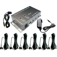 IR Remote Extender With 1 Receiver 6 Emitters Infrared Repeater System Kit US Plug