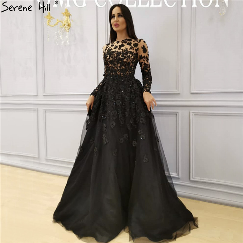 Muslim Black Long Sleeves Crystal Evening Dresses 2019 O-Neck Handmade Flowers Evening Gowns Serene Hill LA70007
