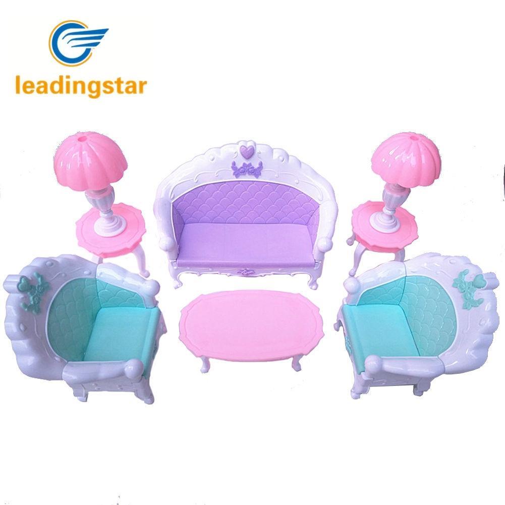 LeadingStar 6 Pcs/Set Doll House Set Kids Mini Furniture Toys Sofa Lamp Tea Table Decor Classic Kids Toy Gift ZK30