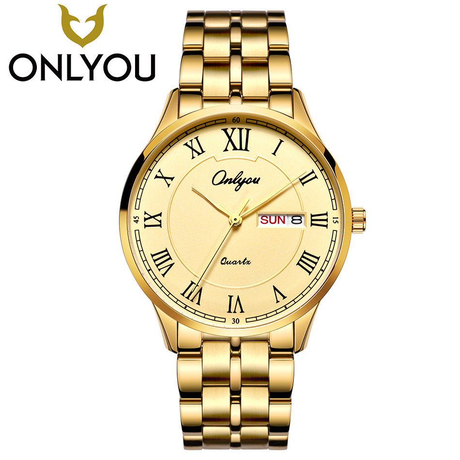 ONLYOU Lover Watches Top Brand Luxury Men Business Gold Watch Women Dress Quartz Clock Fashion Stainless Steel Strap Wristwatch 2016 top brand luxury men s watches men wristwatches stainless steel strap business dress watch reloj hombre time clock men