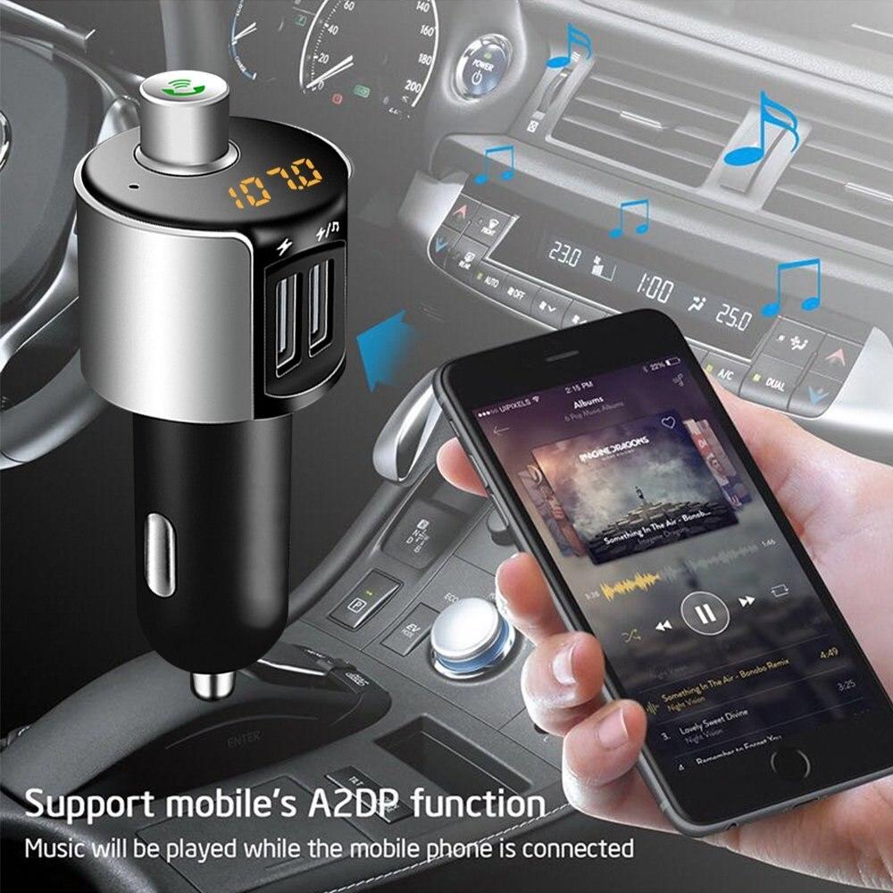 Автомобильное зарядное устройство, Bluetooth fm-передатчик, беспроводной MP3-плеер, Радио адаптер, автомобильный комплект с двойным USB зарядным устройством, Hands Free для Iphone, Ip