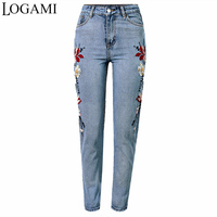 LOGAMI Highwaisted Jeans With Embroidery Flower Spring Summer Denim Jeans Womens Jeans Woman 2017
