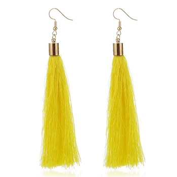 ZHINI Brand Tassel Earrings Women Fashion Jewelry Bohemian Drop Dangle Black Long Earrings Silk Fabric Ethnic Vintage Earrings 3