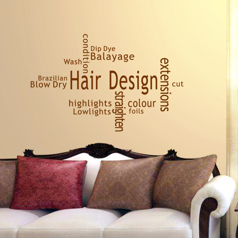 Hair Design Salon Sticker Beauty Salon Decal Haircut Posters Vinyl ...
