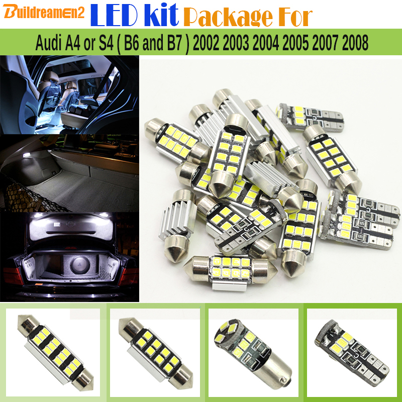 Buildreamen2 15 x Car Interior 2835 LED Kit Package Canbus LED Bulbs For Audi A4 S4 ( B6 and B7 ) 2002 2003 2004 2005 2007 2008