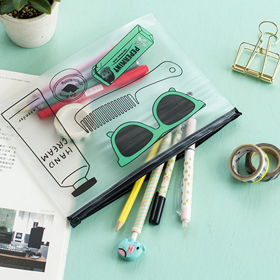FangNymph Fashion Simple PVC File Bag Document Bag Waterproof File Presentation Folder For School Office Stationery Gift