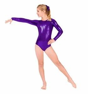 Image 5 - SPEERISE Ballet Dance Leotards for girls Shiny Metallic Gymnastics Rombers Long Sleeve Gold Leotard Kids Wear Spandex Costume