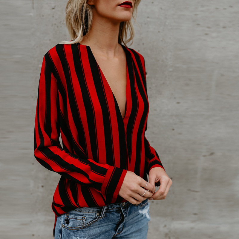 Women's Blouse Red And Black Striped Tops V Neck Loose Long Sleeve Shirt Casual Blouse Shirt Tops New Fashion Blusas Ladies