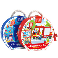 Children 4 in 1 Paper Puzzles Toys Ladder Puzzles Seasons Transport Undersea Firemen Insect Kindergarten Learning Education Toys
