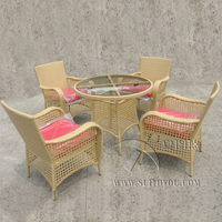 5 pcs Rattan Garden Dining Sets Outdoor Patio Furniture Chair Set , Aluminum Frame Dining Room Set transport by sea