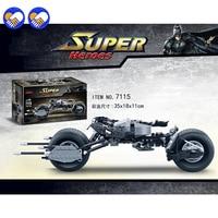 Decool 7115 Super Heroes The Dark Knight Batman Batcycle Batmobile 338PCS Bricks Batpod Building Blocks Toys