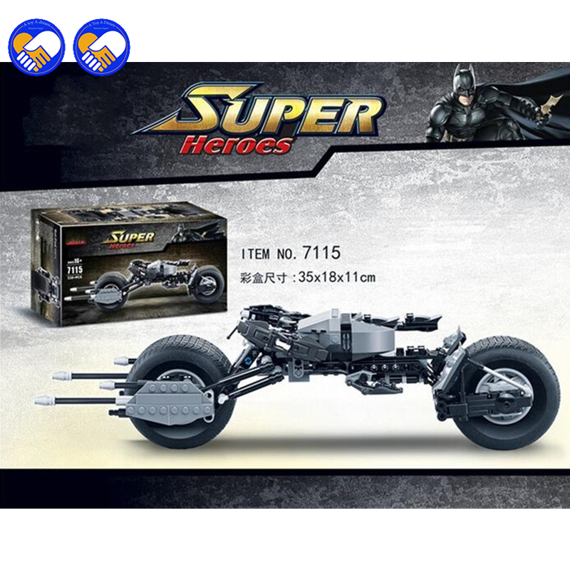 Lelu A unelma Decool 7115 Super Heroes The Dark Knight Batman batcycle Batmobile 338PCS Tiilet batpod Rakennuspalikat Lelut