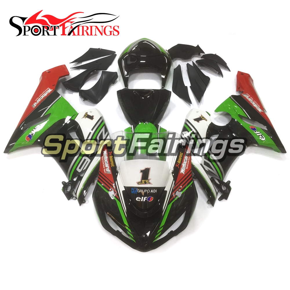 купить Motorcycle Fairing Kits For Kawasaki ZX6R ZX-6R Year 05 06 Ninja 636 2005 2006 ABS Injection Full Covers Black Green Bodywork по цене 33781.16 рублей