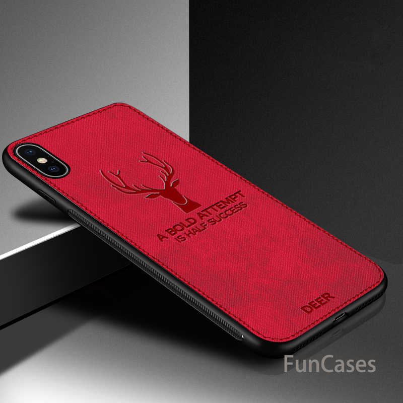 Cloth Texture 3D Embossed Deer Case For iPhone 7 8 6 S X XR XS Max X 6 6S 7 8 Plus Premium Soft TPU Edge Phone Case Cover Coque
