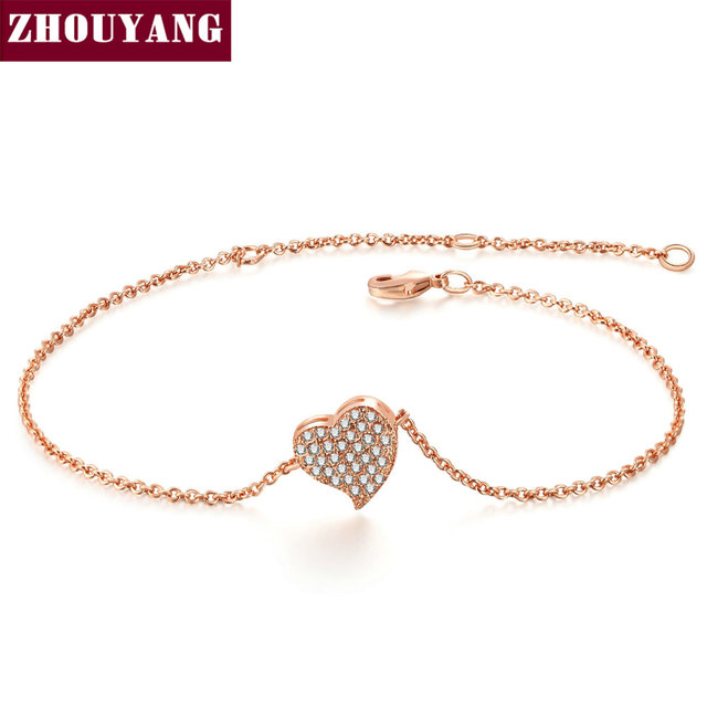 Top Quality ZYH188 Micro insert technology Heart Rose Gold Color Bracelet Jewelry  Austrian Crystals