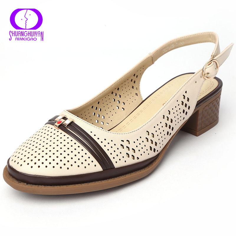 Big Size Retro Medium Heel Women Sandals Genuine Leather Buckle Slingback Square Heels Shoes Comfortable Ladies Open Back Sandal