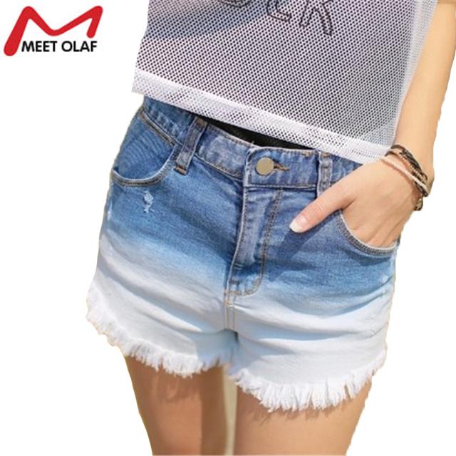 Hot Mulheres Shorts Jeans Gradiente de Cor Jeans Calças Curtas de Moda Feminina Casual calças de Cintura Alta Mais Jeans Tamanho Calções YL617