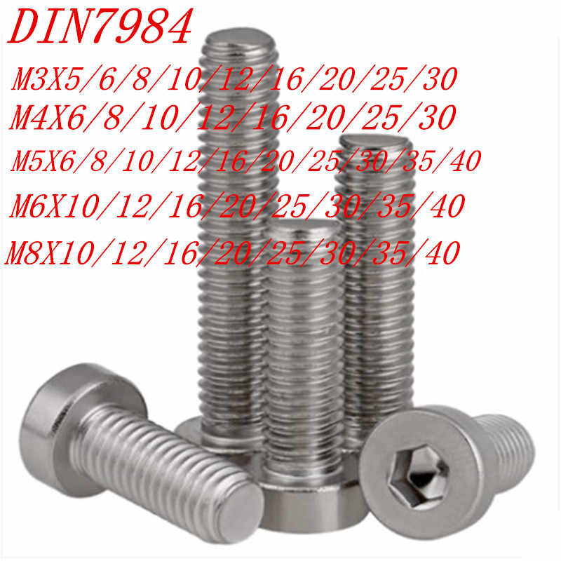 50pcs 20pcs 10pcs 5pcs 304ss DIN7984 M3 M4 M5 M6 M8  Hexagon Socket Thin low Short Head Cap Screw