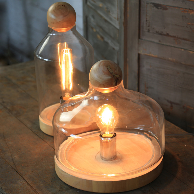 Wood Glass Tank Table Vase Light Bedroom Lamp For Cafe Hotel Decorate