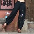 Outono Inverno Novas Mulheres Cintura Elástica Lanternas Chinês Vento Nacional Vento Bordado de Algodão Calças Compridas Calças Perna Larga