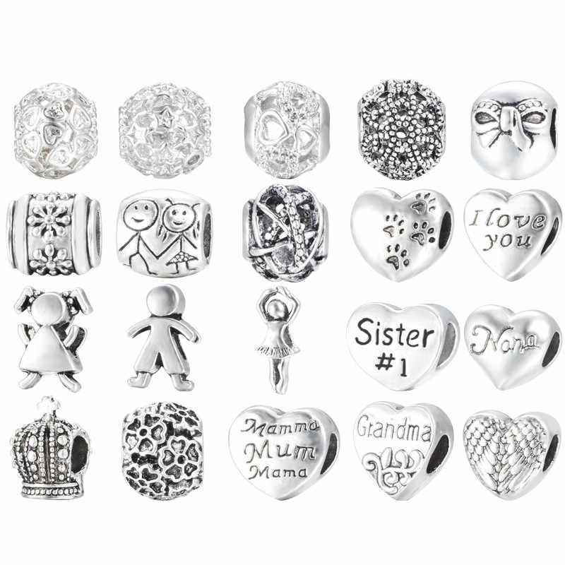 Mon And Son Antique Silver Plated Alloy Charm Beads Fit Pandora Charm Bracelet&Bangle DIY Jewelry Making Jewelry Gift