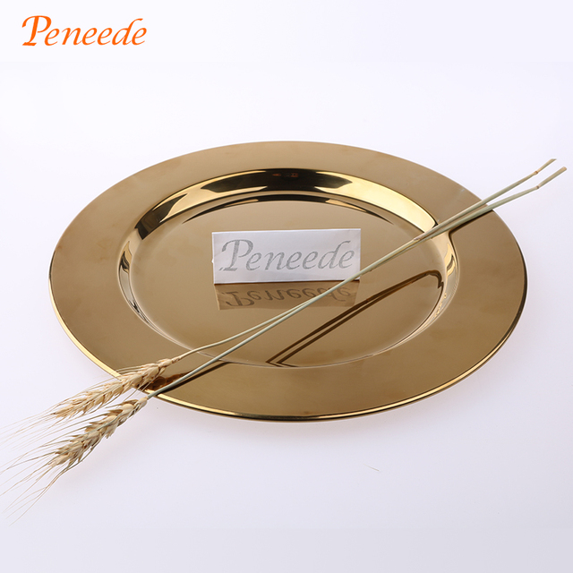Peneede Classic Stainless Steel Charger Plates Service Dinner Gold Silver Charger  Plate Wedding Party Holiday Decoration