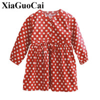 2019 Girls Dress Red Polka Dots Retro Long Sleeve New Items Korean Style Baby Girls Toddlers Kids Dresses for Girls Clothes