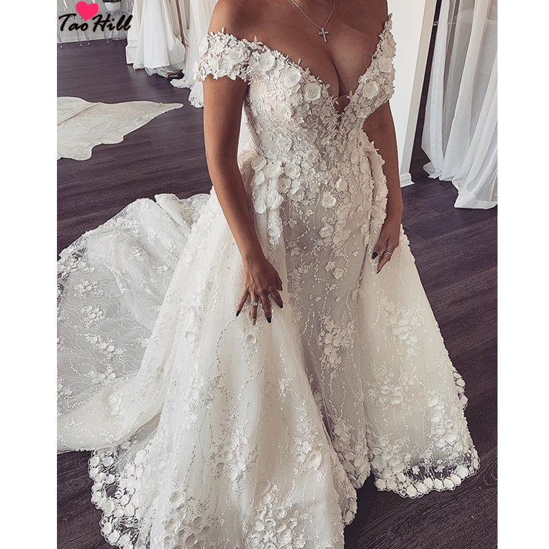 2013 Wedding Gowns Detachable Train: TaoHill Luxury Wedding Dresses Beige Mermaid Appliques