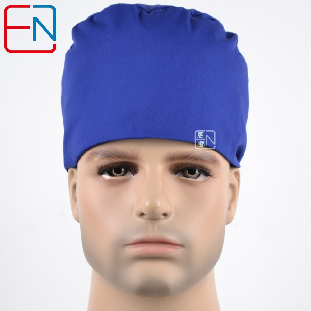 Hennar Surgical Scrub Caps High Quality Cotton Fabric Material Royal Blue Caps Masks Hospital Medical Doctor Scrub Caps Unisex