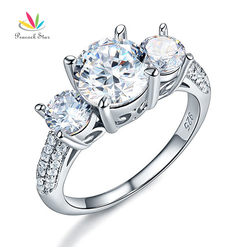 Peacock Star 925 Sterling Silver 3 Stone Wedding Anniversary Engagement Ring  2 Ct Jewelry Vintage Style CFR8225 In Engagement Rings From Jewelry ...