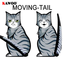 KAWOO 3 Styles Cartoon Funny Cat Moving Tail Stickers Reflective Car Animals Window Wiper Decals Car